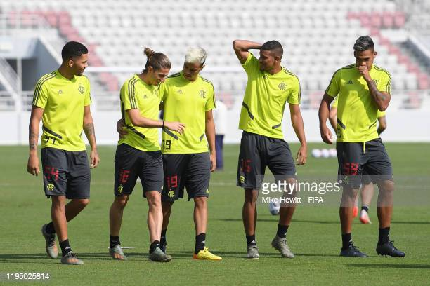 Vitor Gabriel Filipe Luis Reinier Vinicius Souza and Rafael Santos of Flamengo take part in a Flamengo training session at the Al Duhail Sports Club...