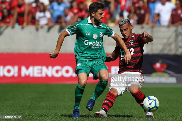 Vitor Gabriel of Flamengo struggles for the ball with Yago of Goias during a match between Flamengo and Goias as part of Brasileirao Series A 2019 at...