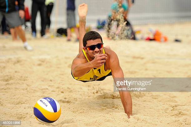 Vitor Goncalves Felipe of Brazil in action during the men main draw match BrouwerMeeuwsen v Vitor FelipeEvandro as part of the fourth day of the FIVB...