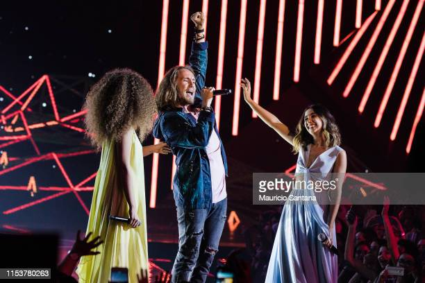 Vitor Kley and Anavitoria performs live on stage during MTV MIAW 2019 at Credicard Hall on July 3 2019 in Sao Paulo Brazil