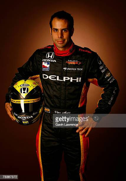 Vitor Meira driver of the Delphi Panther Racing Dallara Honda poses for a portrait during testing for the IRL Indycar Series on February 20 2007 at...