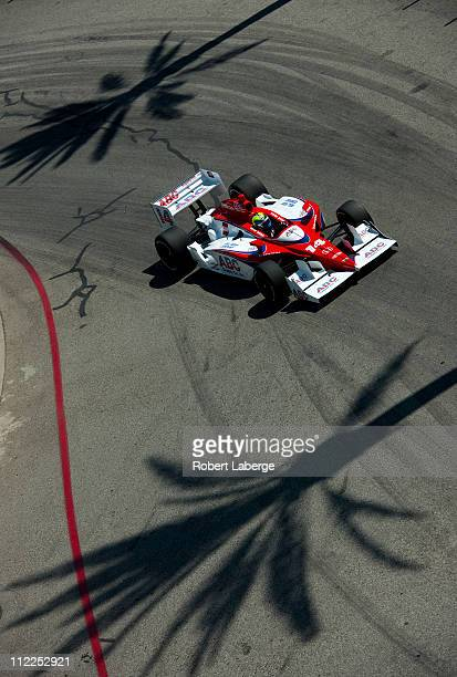 Vitor Meira of Brazil driver of the A J Foyt Enterprises Dallara Honda practices for the IndyCar Series Toyota Grand Prix of Long Beach on April 15...