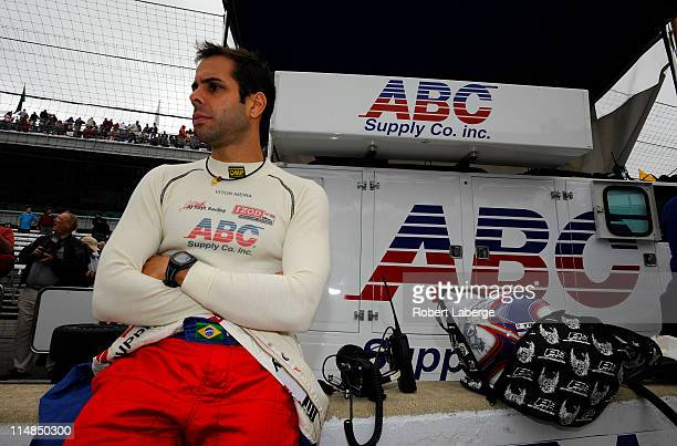 Vitor Meira of Brazil driver of the ABC Supply Co AJ Foyt Racing Dallara Honda looks on during final practice on Carb Day for the 95th running of the...