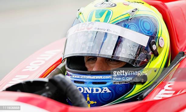 Vitor Meira of Brazil driver of the AJ Foyt Enterprises Dallara Honda waits in the pit during practice for the IndyCar Series Honda Indy Grand Prix...