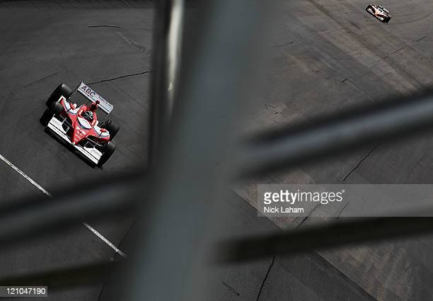Vitor Meira of Brazil drives the AJ Foyt Enterprises Dallara Honda during practice for the IZOD IndyCar Series MoveThatBlockcom Indy 225 at New...