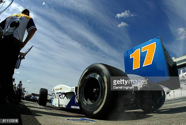 Vitor Meira powers out of the pits driving the Rahal Letterman Racing Centrix Honda GForce during practice for the Indy Racing League IndyCar Series...