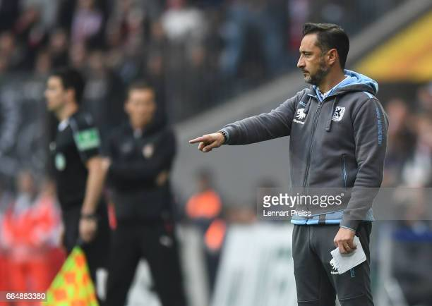 Vitor Pereira head coach of TSV 1860 Muenchen gestures during the Second Bundesliga match between TSV 1860 Muenchen and VfB Stuttgart at Allianz...