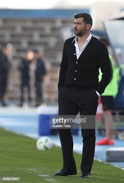 Vitoria de Guimaraess coach Sergio Conceicao in action during the Primeira Liga match between Os Belenenses and Vitoria de Guimaraes at Estadio do...