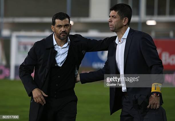 Vitoria de Guimaraes's coach Sergio Conceicao with GD Estoril Praia's coach Fabiano Soares before the start of the Primeira Liga match between GD...
