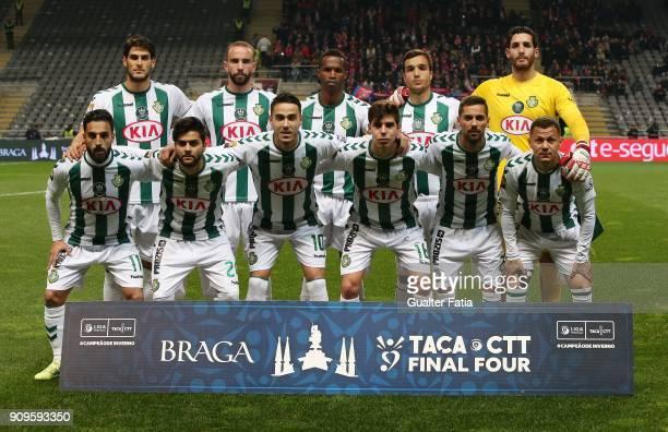 Vitoria de Setubal players pose for a team photo before the start of the Taca da Liga Semi Final match between Vitoria de Setubal and UD Oliveirense...