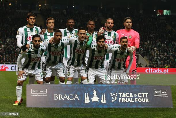 Vitoria de Setubal players pose for a team photo before the start of the Portuguese League Cup Final match between Vitoria de Setubal and Sporting CP...