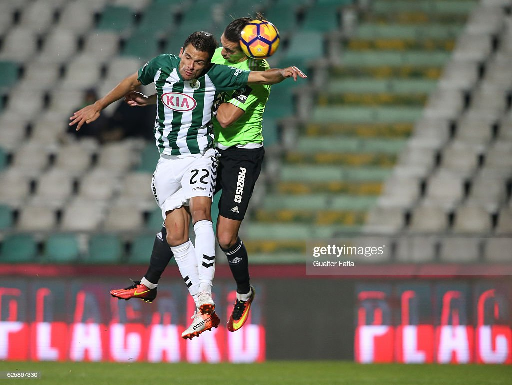 Vitoria de Setubal's defender Andre Geraldes with Rio Ave FC's forward Guedes in action during Primeira Liga match between Vitoria Setubal and Rio Ave FC at Estadio do Bonfim on November 25, 2016 in Setubal (Lisbon), Portugal.
