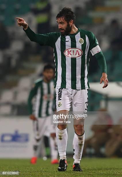 Vitoria de Setubal's defender Frederico Venancio celebrates after scoring a goal during Portuguese League Cup match between Vitoria Setubal and...