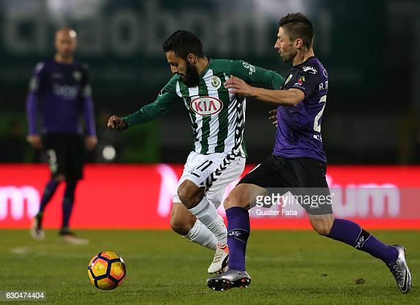 Vitoria de Setubal's forward Joao Costinha with Tondela's midfielder Bruno Monteiro from Portugal in action during Primeira Liga match between...