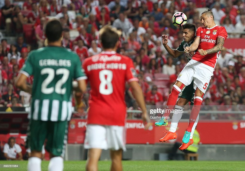 Vitoria de Setubal's forward Ze Manuel with SL Benfica's midfielder from Serbia Ljubomir Fejsa in action during the Primeira Liga match between SL Benfica and Vitoria de Setubal at Estadio da Luz on August 21, 2016 in Lisbon, Portugal.