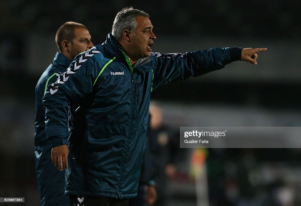 Vitoria de Setubal's head coach Jose Couceiro in action during Primeira Liga match between Vitoria Setubal and Rio Ave FC at Estadio do Bonfim on November 25, 2016 in Setubal (Lisbon), Portugal.