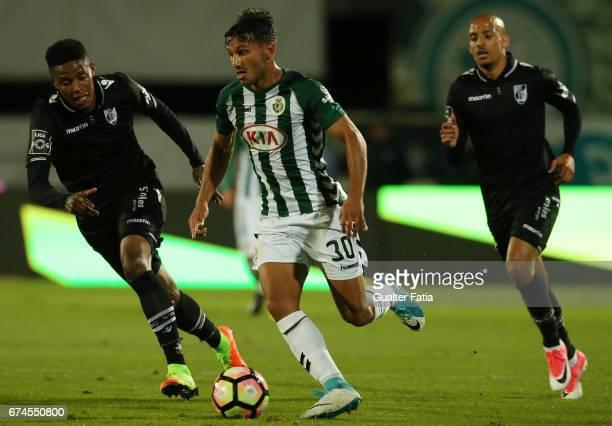 Vitoria de Setubal's midfielder Joao Carvalho in action during the Primeira Liga match between Vitoria Setubal and Vitoria Guimaraes at Estadio do...