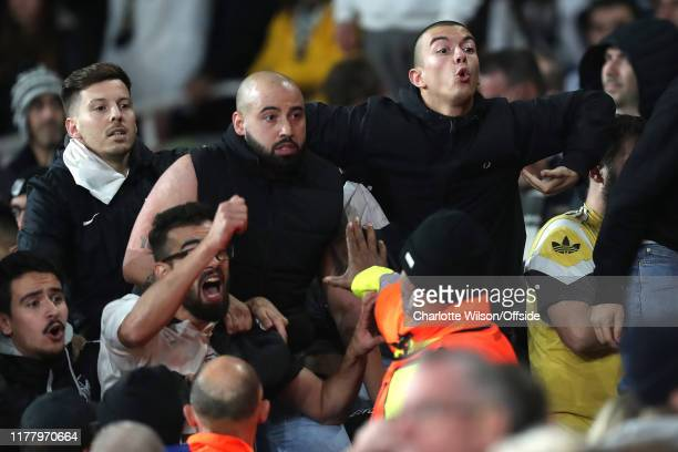 Vitoria fan makes racist monkey gestures after they lose in injury time after the UEFA Europa League group F match between Arsenal FC and Vitoria...