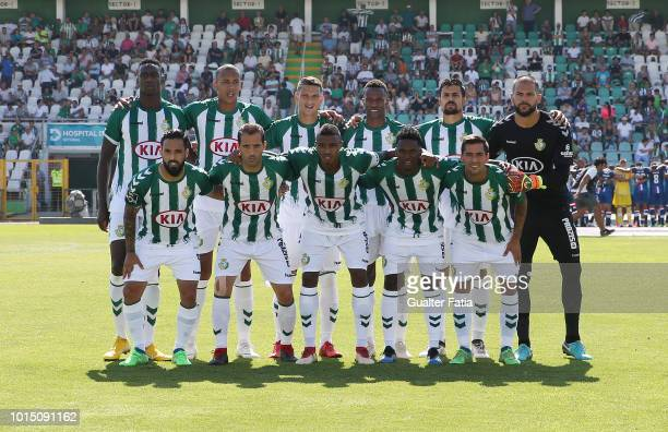 Vitoria FC players pose for a team photo before the start of the Liga NOS match between Vitoria FC and CD Aves at Estadio do Bonfim on August 11 2018...