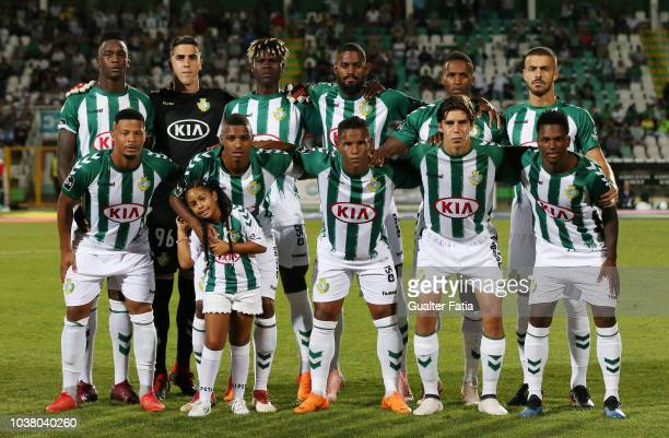Vitoria FC players pose for a team photo before the start of the Liga NOS match between Vitoria FC and FC Porto at Estadio do Bonfim on September 22...