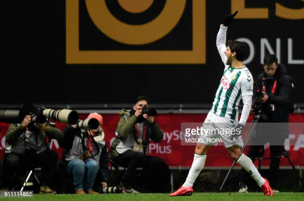Vitoria FC's Portuguese forward Goncalo Paciencia celebrates after scoring a goal during the Portuguese Cup final match between Vitoria FC and...
