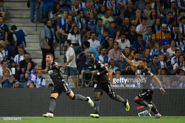 Vitoria Guimaraes' Brazilian forward Davidson celebrates after scoring a goal during the Portuguese league football match between FC Porto and...