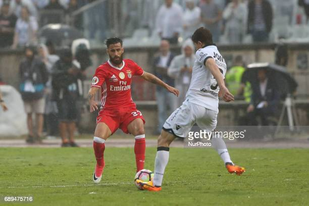 Vitoria Guimaraes' Brazilian midfielder Rafael Miranda vies with Benfica's Portuguese midfielder Rafa Silva during the Portugal Cup Final football...