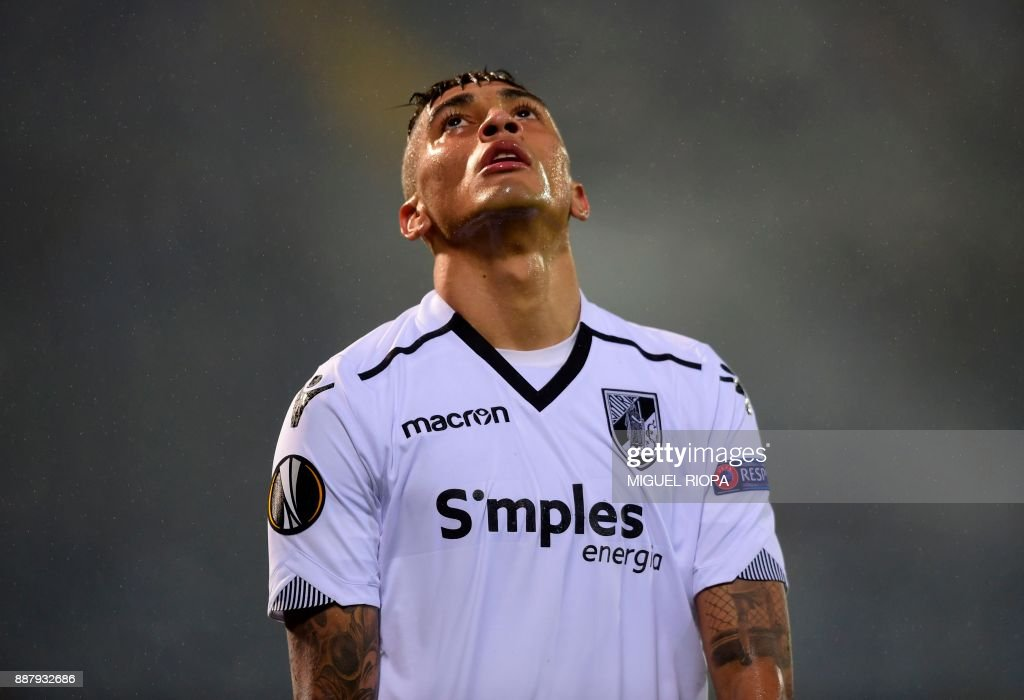 Vitoria Guimaraes' Brazilian midfielder Raphinha reacts during the UEFA Europa League group I football match between Vitoria and Konyaspor in Guimaraes on December 7, 2017. /