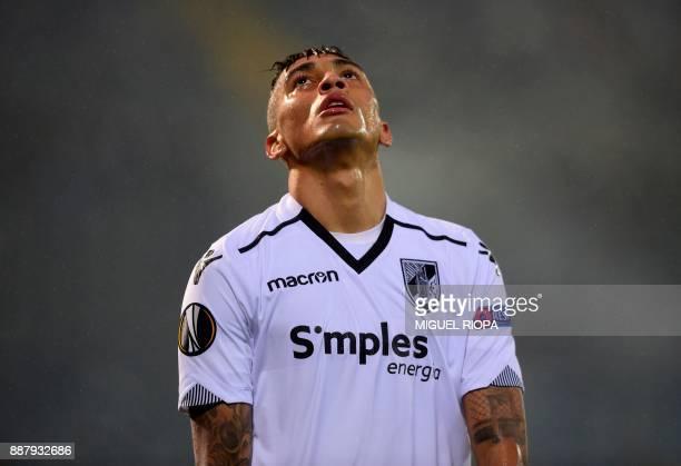 Vitoria Guimaraes' Brazilian midfielder Raphinha reacts during the UEFA Europa League group I football match between Vitoria and Konyaspor in...