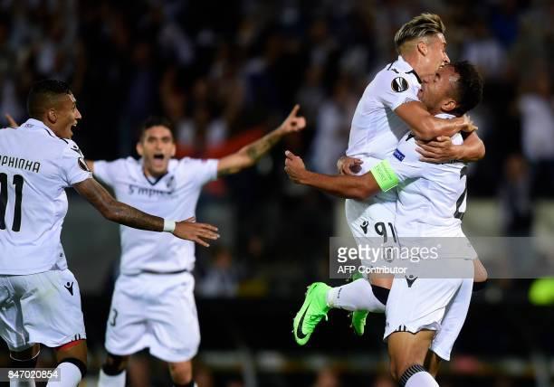 Vitoria Guimaraes' defender from Brazil Pedrao celebrates a goal during the Europa League football match Vitoria Guimaraes SC vs FC Red Bull Salzburg...