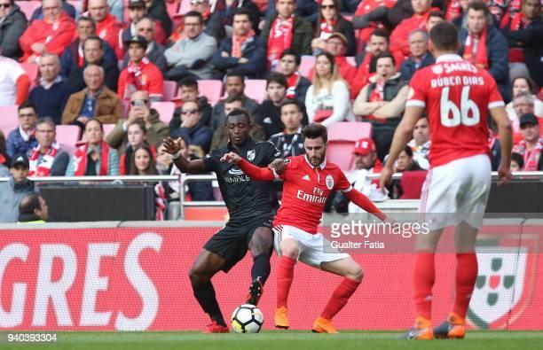 Vitoria Guimaraes defender Guislain Kona from Ivory Coast with SL Benfica forward Rafa Silva from Portugal in action during the Primeira Liga match...