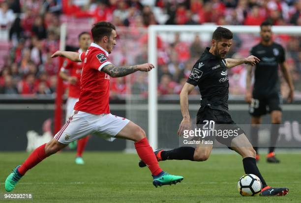 Vitoria Guimaraes defender Joao Aurelio from Portugal with SL Benfica defender Alejandro Grimaldo from Spain in action during the Primeira Liga match...