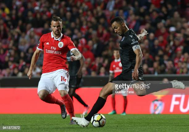 Vitoria Guimaraes defender Pedro Henrique from Brazil with SL Benfica forward Haris Seferovic from Switzerland in action during the Primeira Liga...