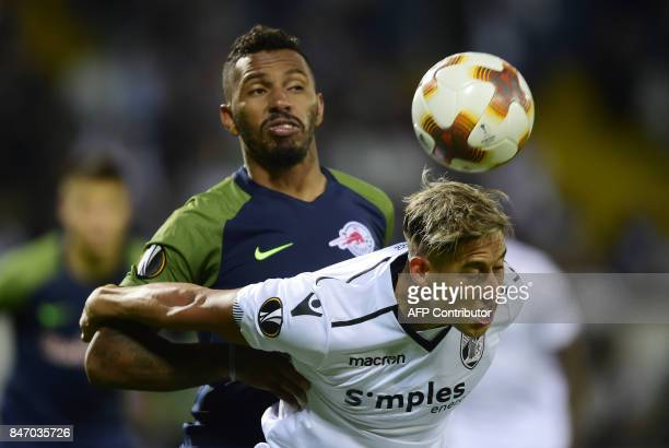 Vitoria Guimaraes' forward from Uruguay Cesar David Texeira Torres vies with Salzbourg's defender from Brazil Paulo Miranda during the Europa League...