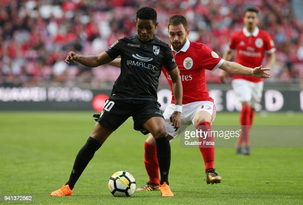Vitoria Guimaraes forward Heldon from Cape Verde with SL Benfica forward Andrija Zivkovic from Serbia in action during the Primeira Liga match...