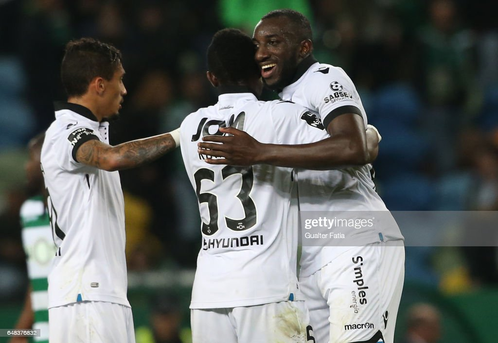 Vitoria GuimaraesÕ forward Moussa Marega celebrates with teammates the draw at the end of the Primeira Liga match between Sporting CP and Vitoria Guimaraes at Estadio Jose Alvalade on March 5, 2017 in Lisbon, Portugal.