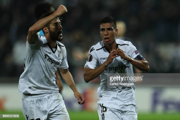 Vitoria Guimaraes forward Paolo Hurtado from Peru celebrates scoring Vitoria Guimaraes goal during the match between Vitoria Guimaraes and Olympique...