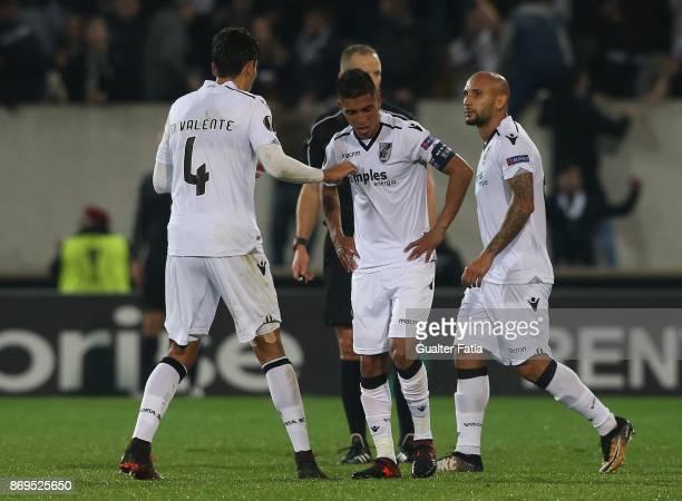 Vitoria Guimaraes forward Paolo Hurtado from Peru celebrates with teammates after scoring a goal during the UEFA Europa League match between Vitoria...