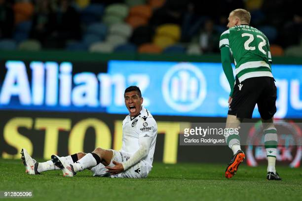 Vitoria Guimaraes forward Paolo Hurtado from Peru reacts during the Portuguese Primeira Liga match between Sporting CP and Vitoria Guimaraes SC at...