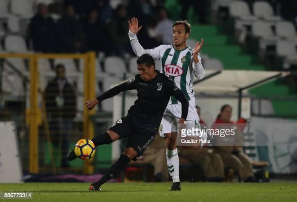 Vitoria Guimaraes forward Paolo Hurtado from Peru with Vitoria Setubal midfielder Tomas Podstawski from Portugal in action during the Primeira Liga...
