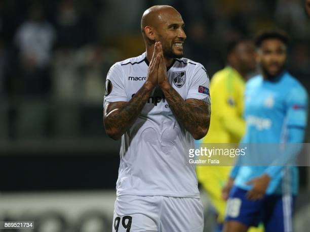 Vitoria Guimaraes forward Rafael Martins from Brasil reaction after missing a goal opportunity during the UEFA Europa League match between Vitoria de...