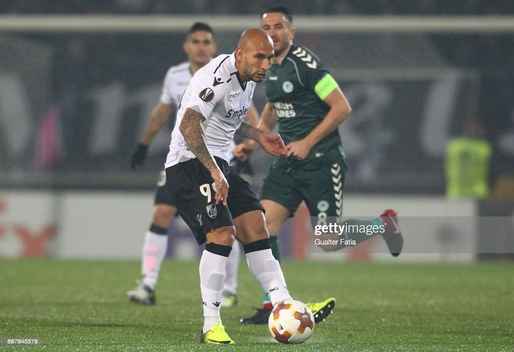 Vitoria Guimaraes forward Rafael Martins from Brazil in action during the UEFA Europa League match between Vitoria de Guimaraes and Atiker Konyaspor at Estadio D. Afonso Henriques on December 7, 2017 in Guimaraes, Portugal.