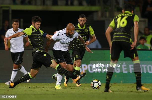 Vitoria Guimaraes forward Rafael Martins from Brazil with Sporting CP defender Tobias Figueiredo from Portugal in action during PreSeason Friendly...