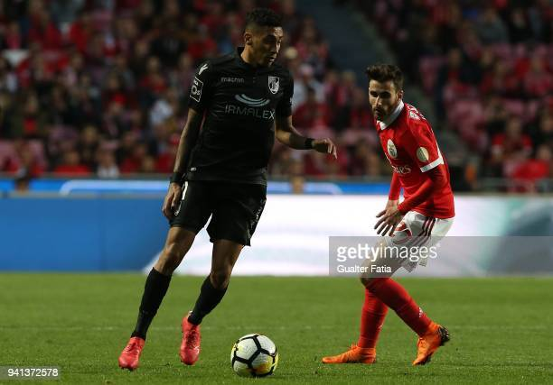 Vitoria Guimaraes forward Raphinha from Brazil with SL Benfica forward Rafa Silva from Portugal in action during the Primeira Liga match between SL...