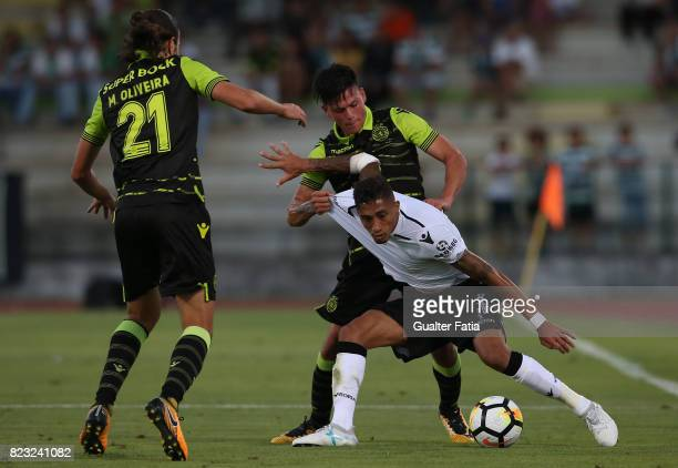Vitoria Guimaraes forward Raphinha from Brazil with Sporting CP defender Jonathan Silva from Argentina in action during PreSeason Friendly match...