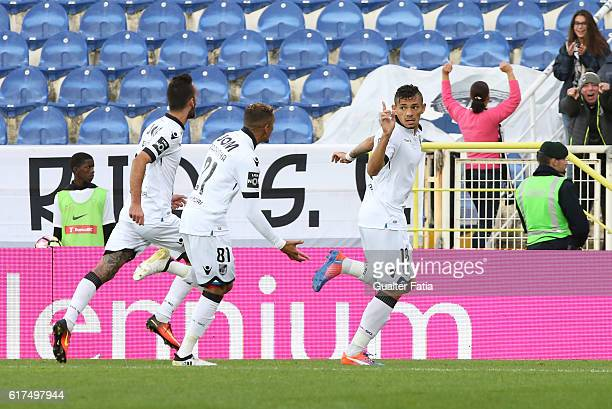 Vitoria Guimaraes' forward Soares celebrates after scoring a goal during the Primeira Liga match between GD Estoril Praia and Vitoria SC Guimaraes at...