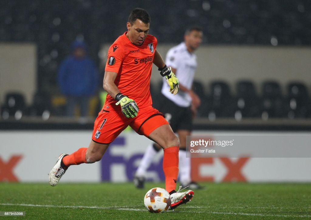 Vitoria Guimaraes goalkeeper Douglas Jesus from Brazil in action during the UEFA Europa League match between Vitoria de Guimaraes and Atiker Konyaspor at Estadio D. Afonso Henriques on December 7, 2017 in Guimaraes, Portugal.