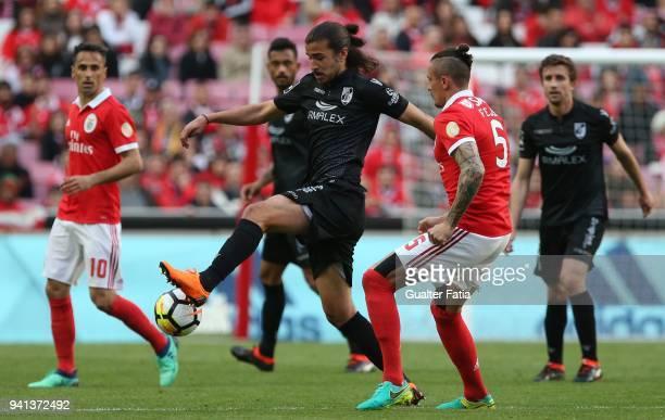 Vitoria Guimaraes midfielder Mattheus Oliveira from Brazil with SL Benfica midfielder Ljubomir Fejsa from Serbia in action during the Primeira Liga...