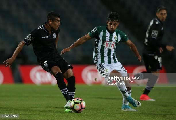 Vitoria Guimaraes' midfielder Paolo Hurtado with Vitoria de SetubalÕs midfielder Joao Carvalho in action during the Primeira Liga match between...