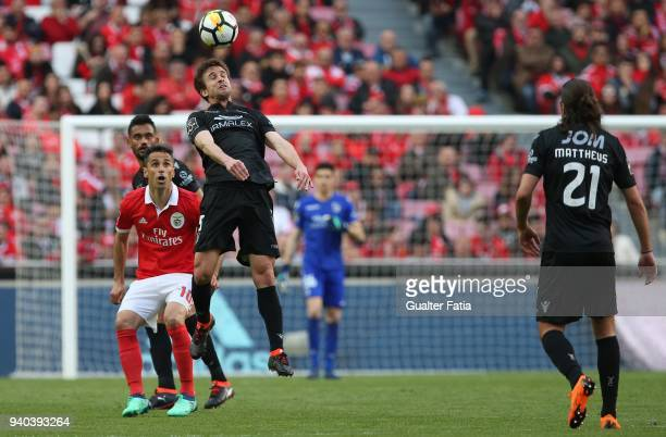 Vitoria Guimaraes midfielder Rafael Miranda from Brazil with SL Benfica forward Jonas from Brazil in action during the Primeira Liga match between SL...